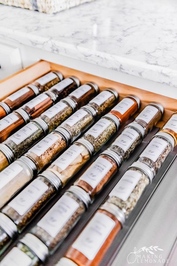 spice jars in drawer