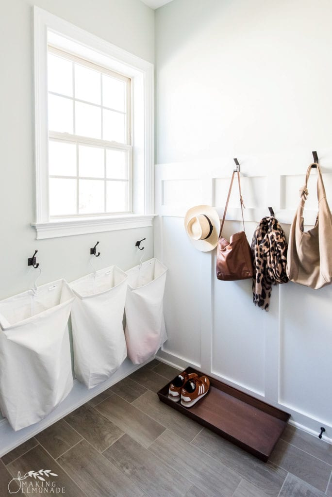 laundry sorter and hooks in mudroom