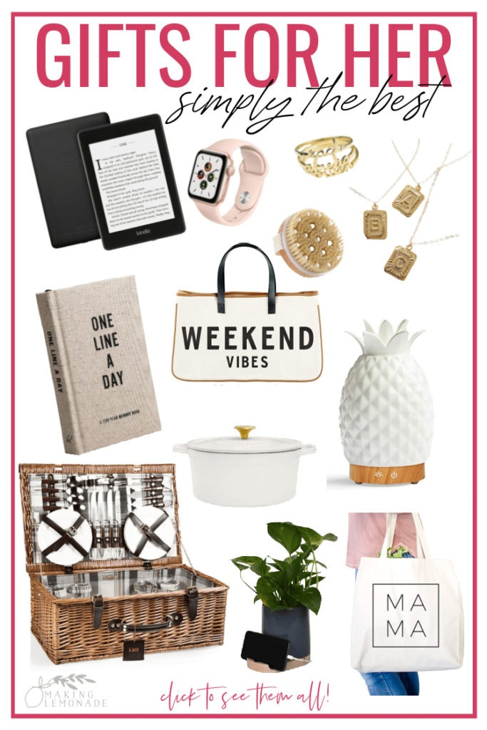 collage with gift ideas for women