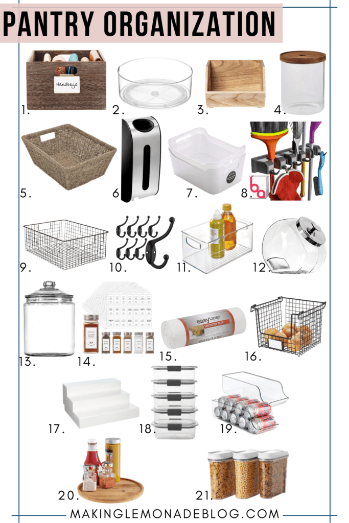 collage of pantry organization from Amazon
