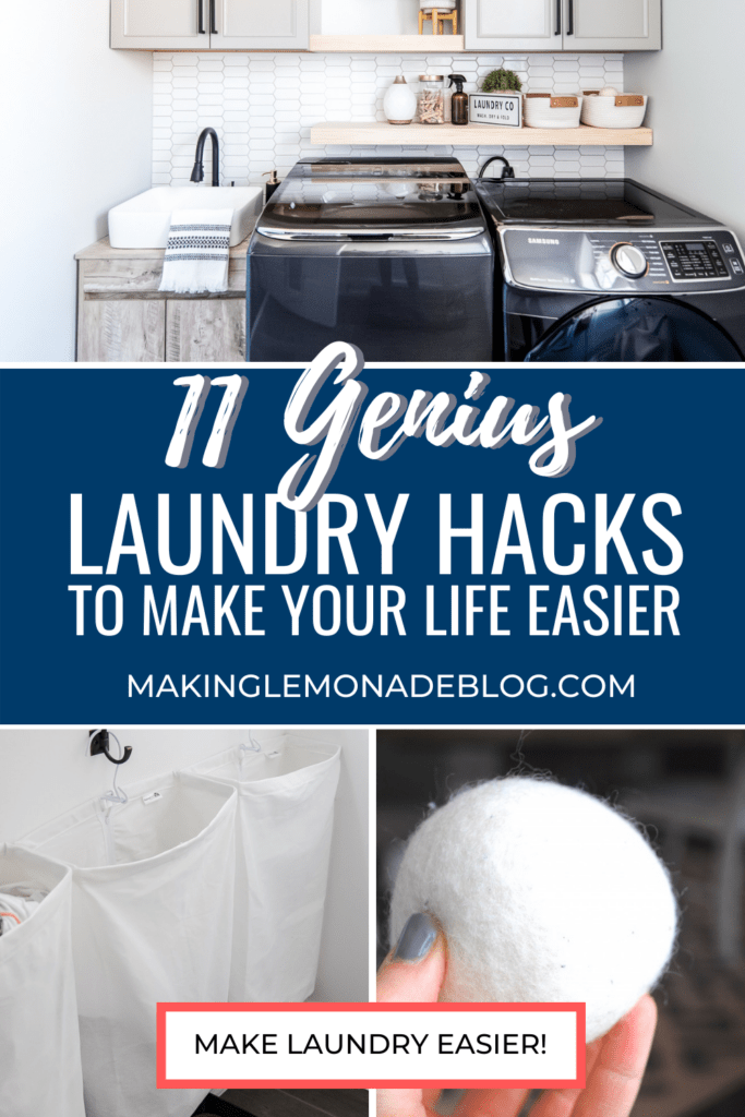 collage of laundry room hacks