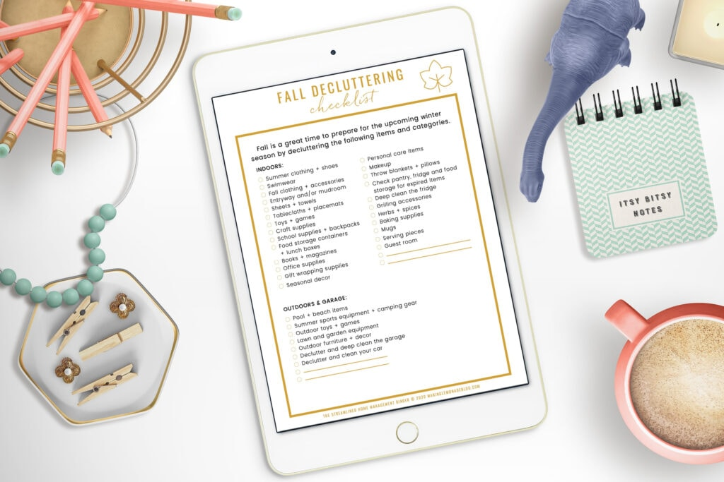 fall decluttering checklist with toys