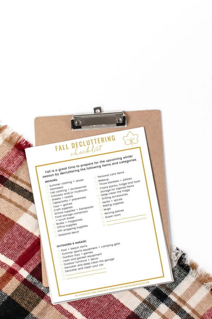 fall decluttering checklist with fall scarf