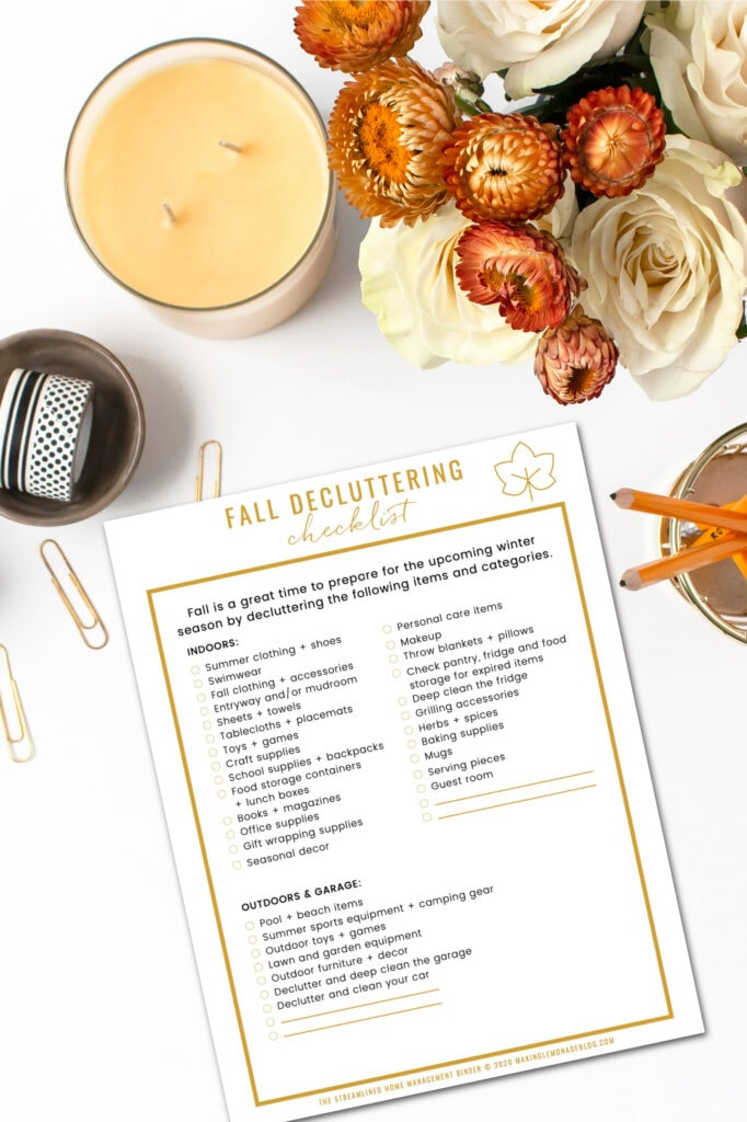 fall decluttering checklist on table