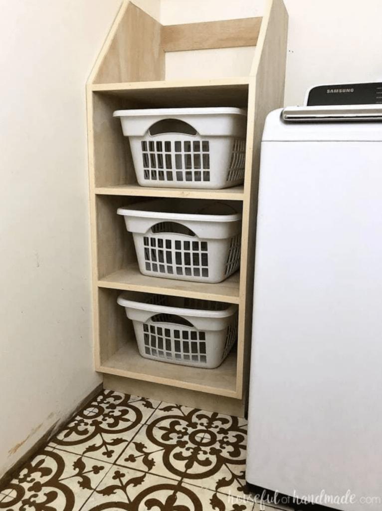 built-in laundry basket shelves