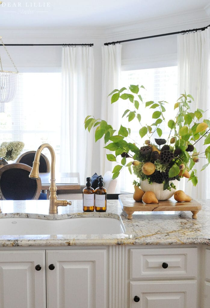 fall inspired kitchen with floral arrangement